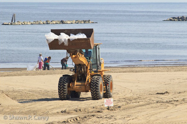 July 30, 2010 - Grand Isle State Park, Grand Isle, Louisiana - Cleanup crew at work. The 60 gallon plastics bags are loaded with only TWO shovels of sand. Yet more waste being generated by BP. Do you think they could use smaller bags? What about reusing the bags once they are emptied out?